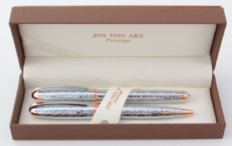 Jos Von Arx Prestige WR18 Ballpoint and Rollerball Geometric Design Pen Set